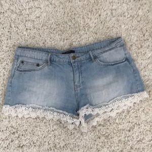 Forever 21 lace denim shorts